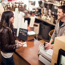 customer at a coffee shop