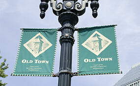 Old Town lamp post and banner