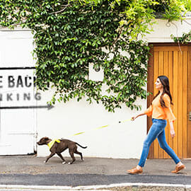 Woman walking dog in front of take back banking sign